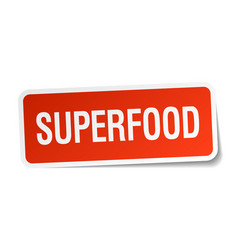 Superfood red square sticker isolated on white vector