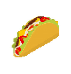 taco pixel art tacos are pixelated mexican fast vector image