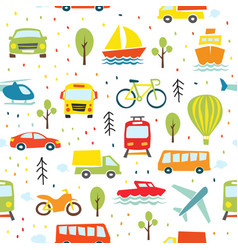 Transport seamless pattern childish transport vector
