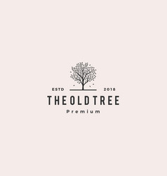 tree logo retro hipster vintage logo label vector image