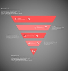 Triangle infographic template consists of five red vector image