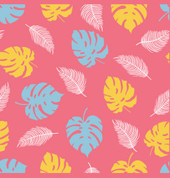 tropical plants pattern on pink background vector image
