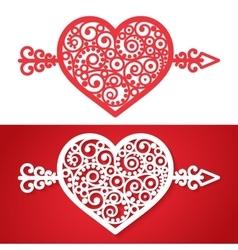 Vintage heart with an arrow element vector