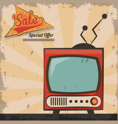Vintage technology television sale special offer vector