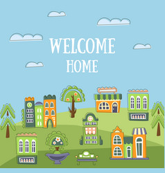 Welcome home banner template summer landscape vector