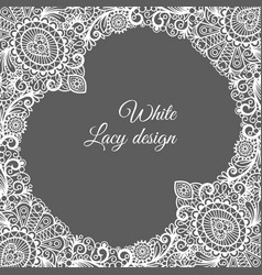 White lacy ornamental card design vector