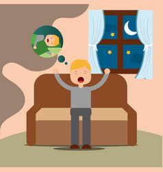 young man yawning thinking sleep sitting on sofa vector image