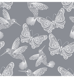 Zentangle stylized Hummingbird and Butterfly vector image