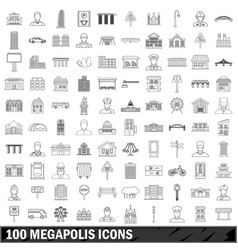 100 megapolis icons set outline style vector image