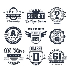 Black and White Sport Emblems Logos vector image vector image