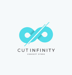 Cut infinity abstract sign emblem or logo vector