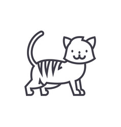 cute cat line icon sign o vector image vector image