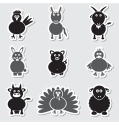 farm animals simple stickers set eps10 vector image vector image
