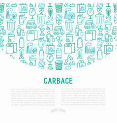 garbage concept with thin line icons vector image