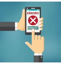 Hand hold smart phone with error on the screen vector image vector image