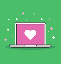 laptop with heart icon modern flat vector image