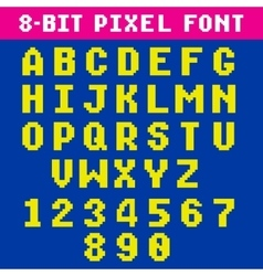 Retro video game pixel letters and numbers font vector image vector image