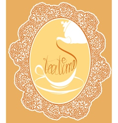 Vintage tea party card design with hand written vector image