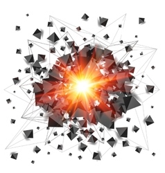 Black pyramids and red fire explosion isolated on vector image vector image