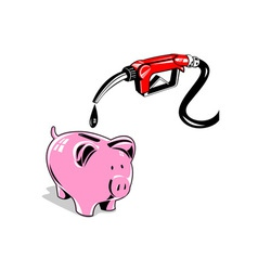 Fuel Pump Station Nozzle and Piggy Bank Retro vector image vector image