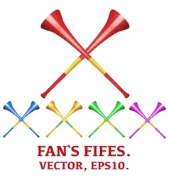 Set of fans pipes to support athletes at vector image vector image