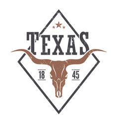 texas state tee print with longhorn skull vector image