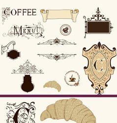 Vintage coffee set vector image vector image
