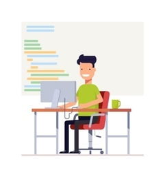 Young programmer writes code for a computer vector image vector image