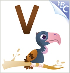 Animal alphabet for the kids V for the Vulture vector image