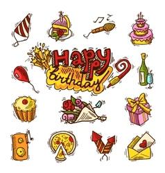 Birthday sketch color icon set vector