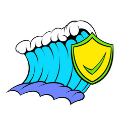 blue tsunami wave and yellow shield with tick icon vector image