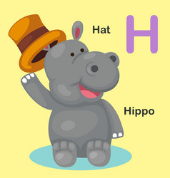 isolated animal alphabet letter h-hat hippo vector image vector image