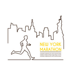 line silhouettes of male runner running marathon vector image vector image