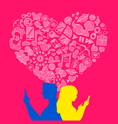 valentines day young love internet icon concept vector image vector image