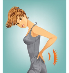 Woman suffering from backache vector image vector image
