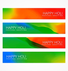 bright happy holi banners vector image vector image