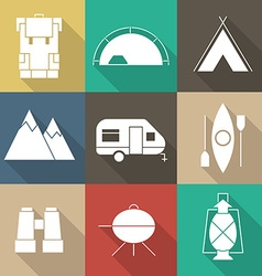 Camping Outine Icon Set of Adventure Elements vector image