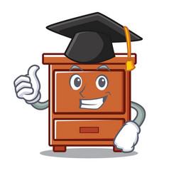 Graduation wooden drawer character cartoon vector