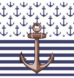 Nautical or marine themed pattern with anchor vector image