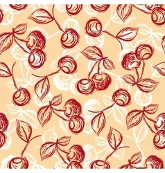 seamless pattern cherry hand-drawn vector image