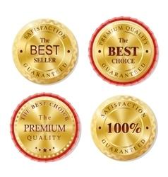 Set of golden metal badges vector image vector image