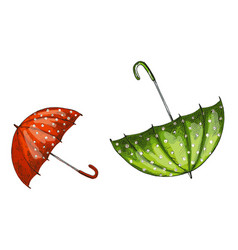 two opened green and red umbrellas isolated vector image vector image
