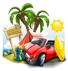a cartoon green hill near sea with red car vector image
