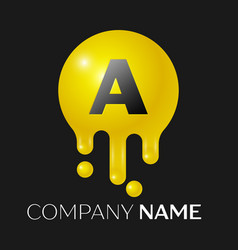 a letter splash logo yellow dots and bubbles vector image