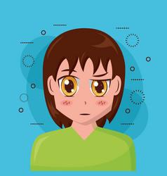 anime girl manga portrait vector image