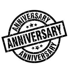 anniversary round grunge black stamp vector image