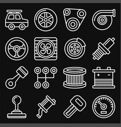 automotive car service icons set on black vector image