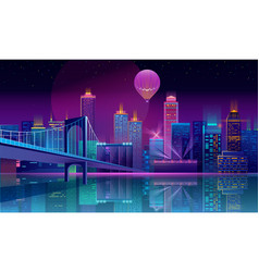 background with night city in neon lights vector image