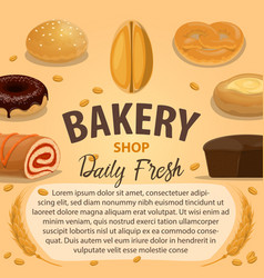 Bakery product poster with wheat bread and pastry vector
