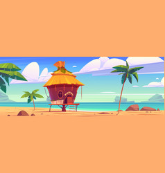 beach hut or bungalow on tropical island resort vector image